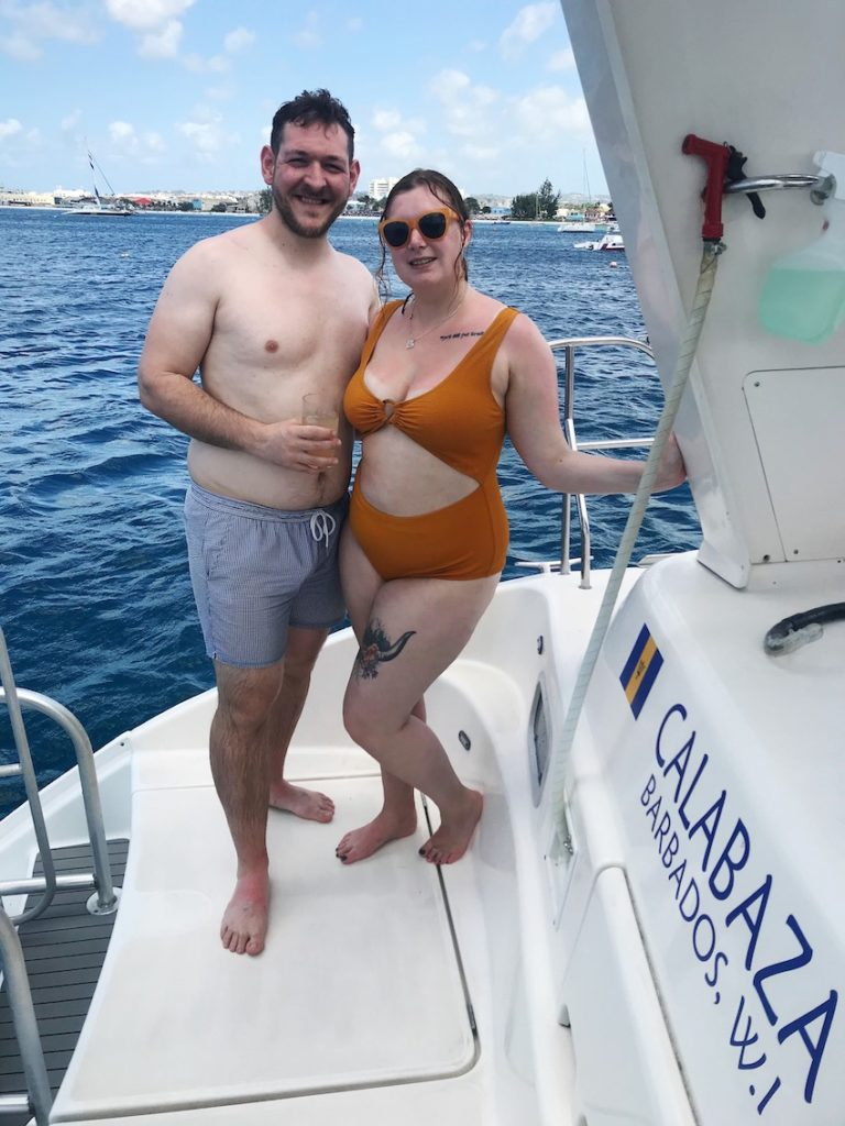 Patchwork Couple on catamaran on honeymoon in Caribbean