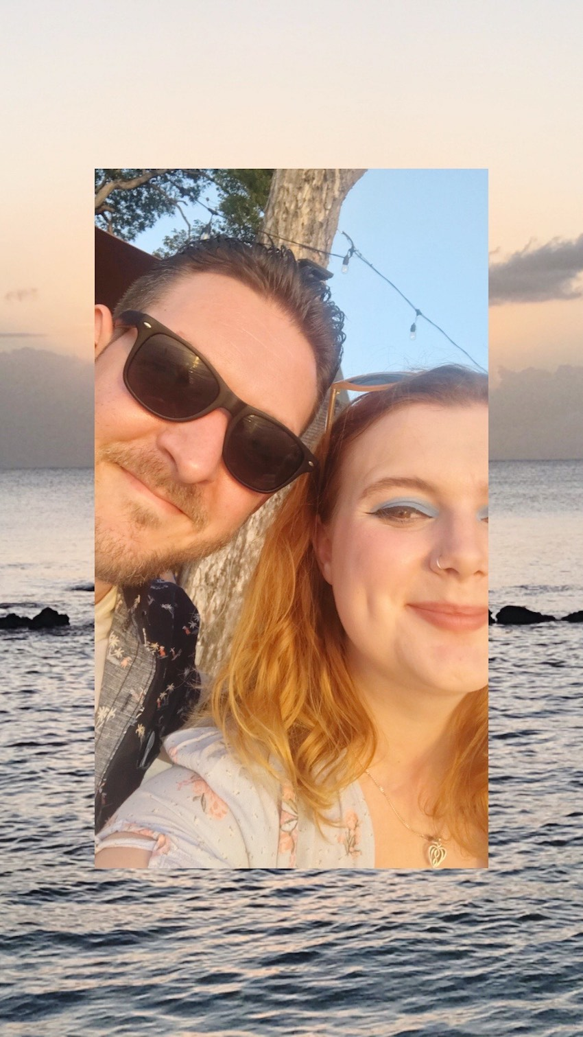 Newly wed Patchwork Couple smiling on honeymoon in Caribbean