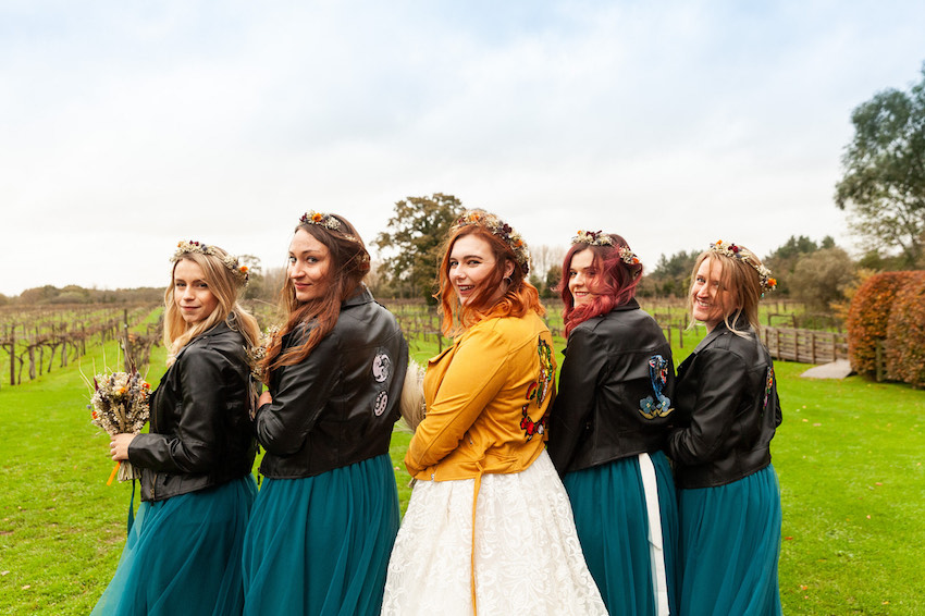 Bride and her bridesmaids group photo