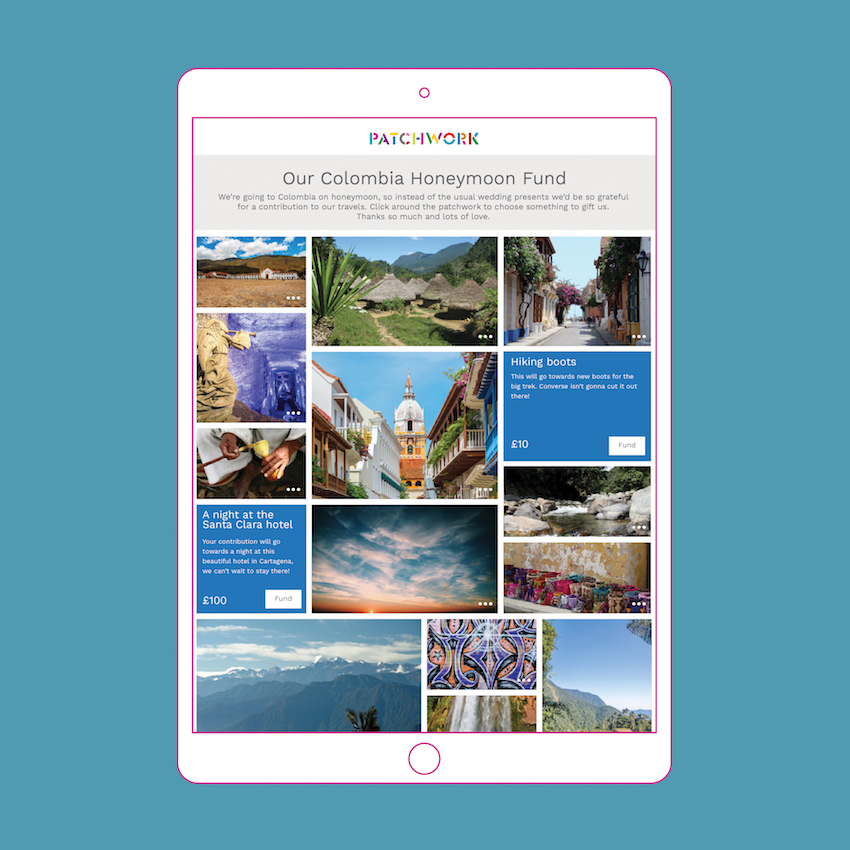 Patchwork Honeymoon Fund to Colombia in an iPad