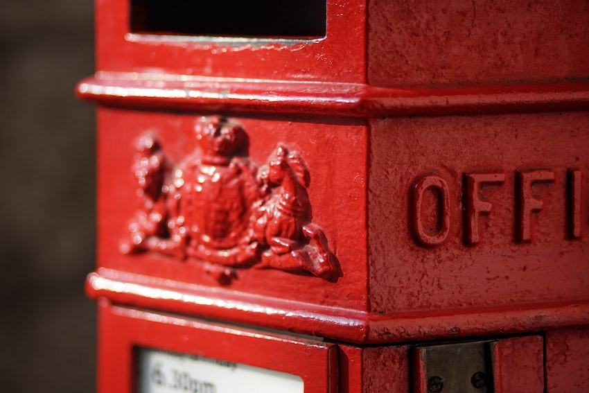 Close up of red Royal Mail postbox