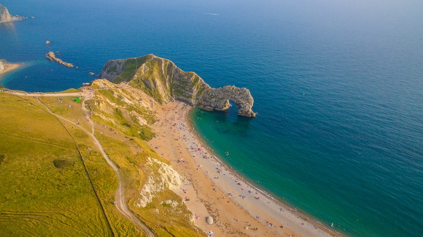 Arial view of Durdle Door and ocean