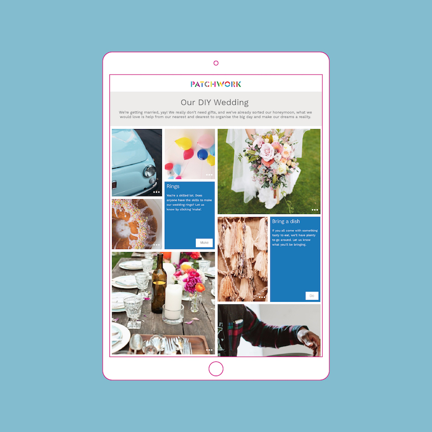 DIY wedding Patchwork in an iPad