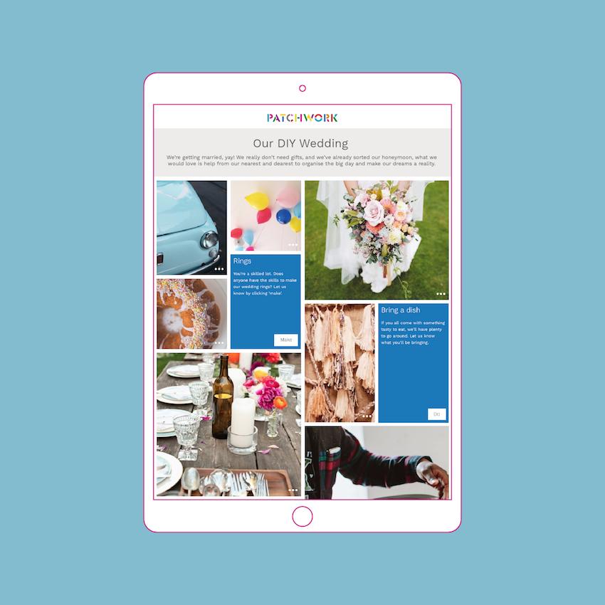DIY wedding Patchwork in an iPad