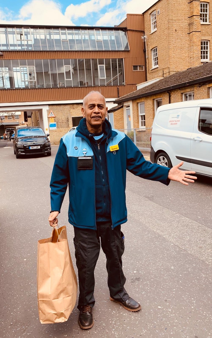 First recipient of Frontline food packages at Lewisham NHS Hospital