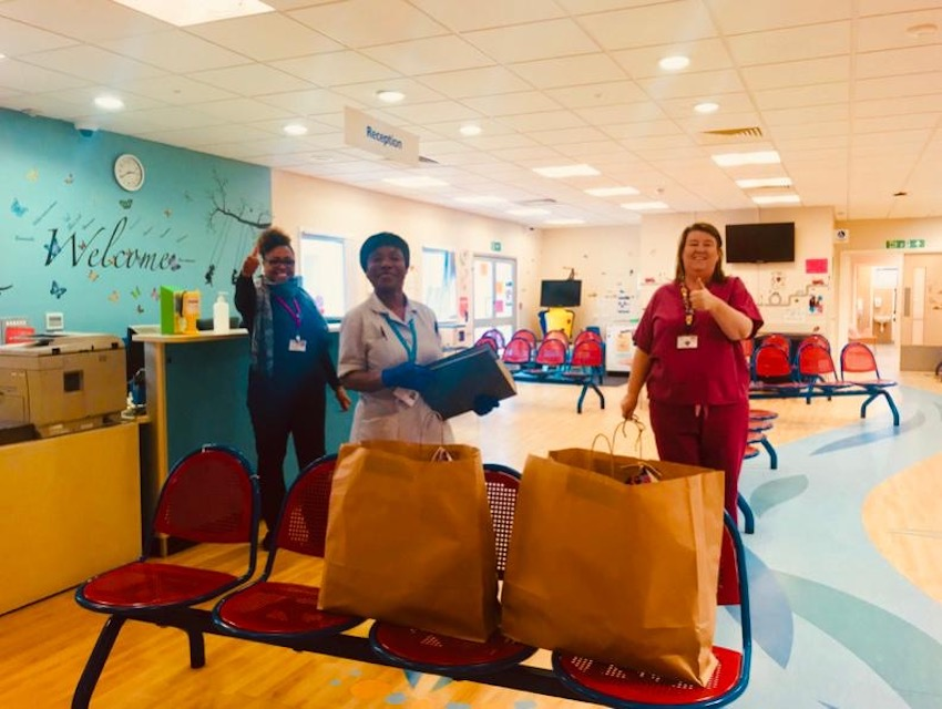 Food packages being delivered to staff at Lewisham NHS hospital