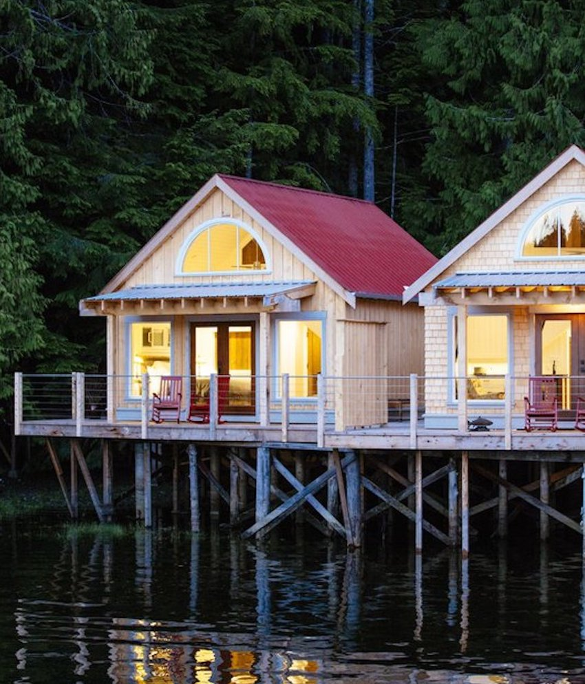 Wooden cabins on stilts over water, Canada