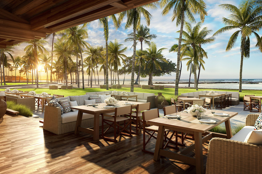 Dining terrace at Maunalani resort, Hawaii