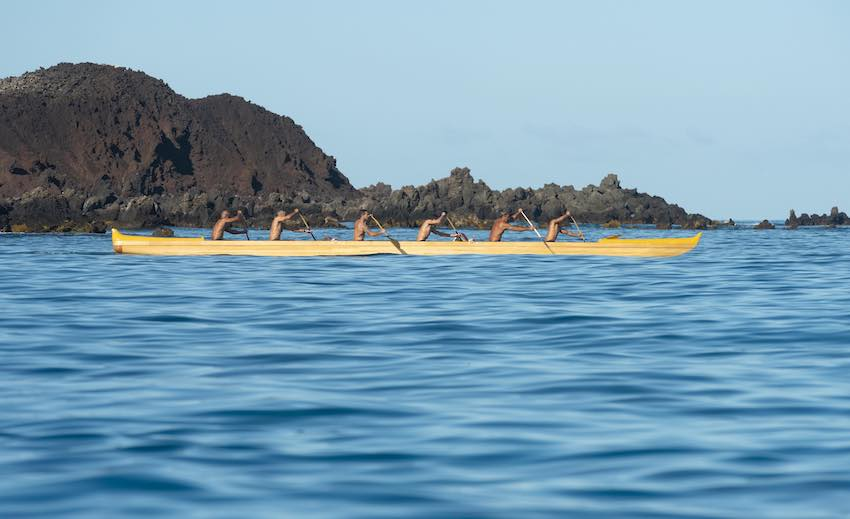 Men in large canoe, Maunalani Resort, Hawaii