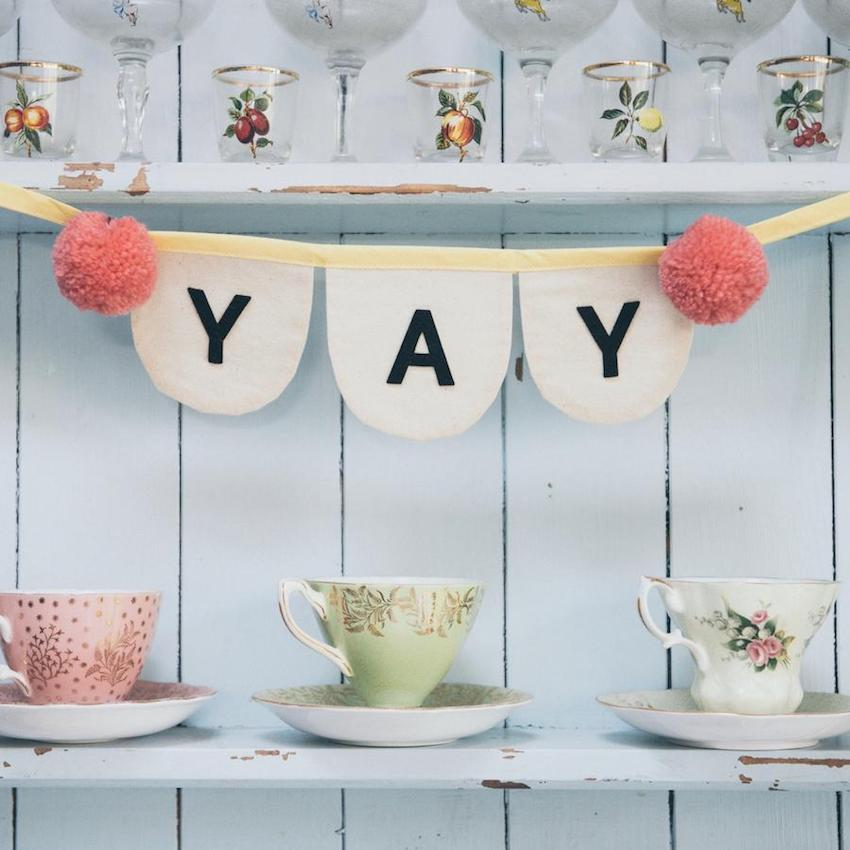 personalised pom pom bunting baby shower