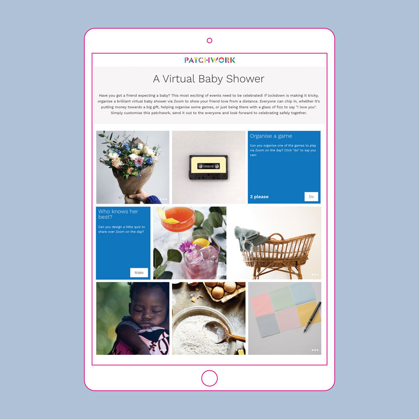 Virtual baby shower patchwork in an iPad