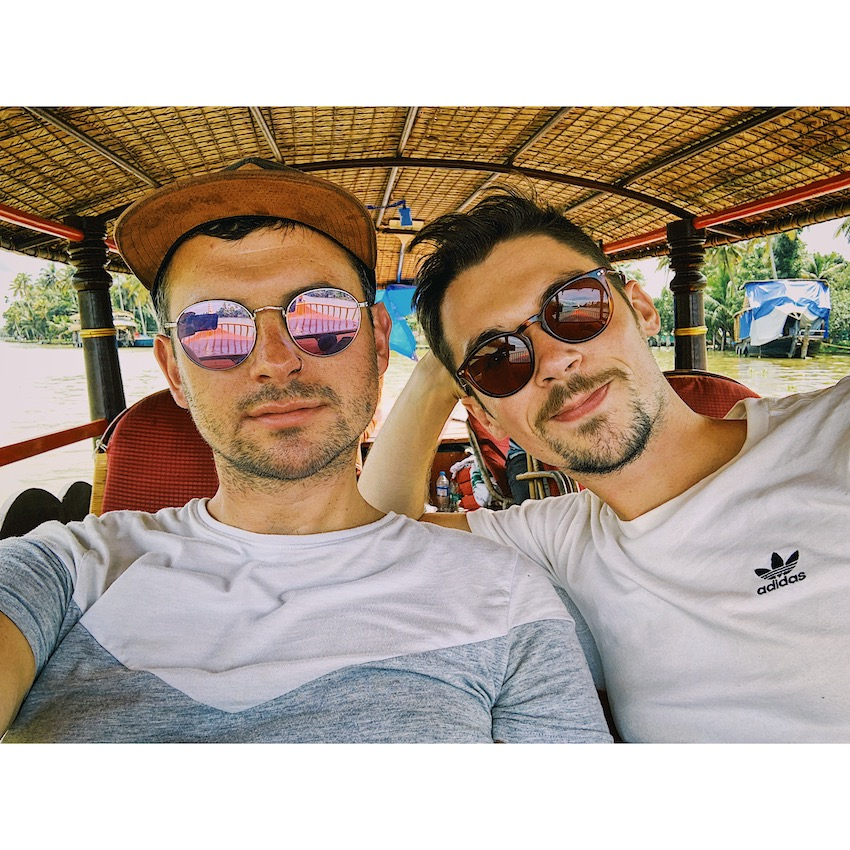 Patchwork Couple on honeymoon in India in tuk-tuk