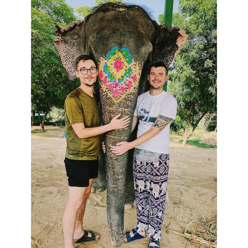 Patchwork Couple on honeymoon in India with elephants
