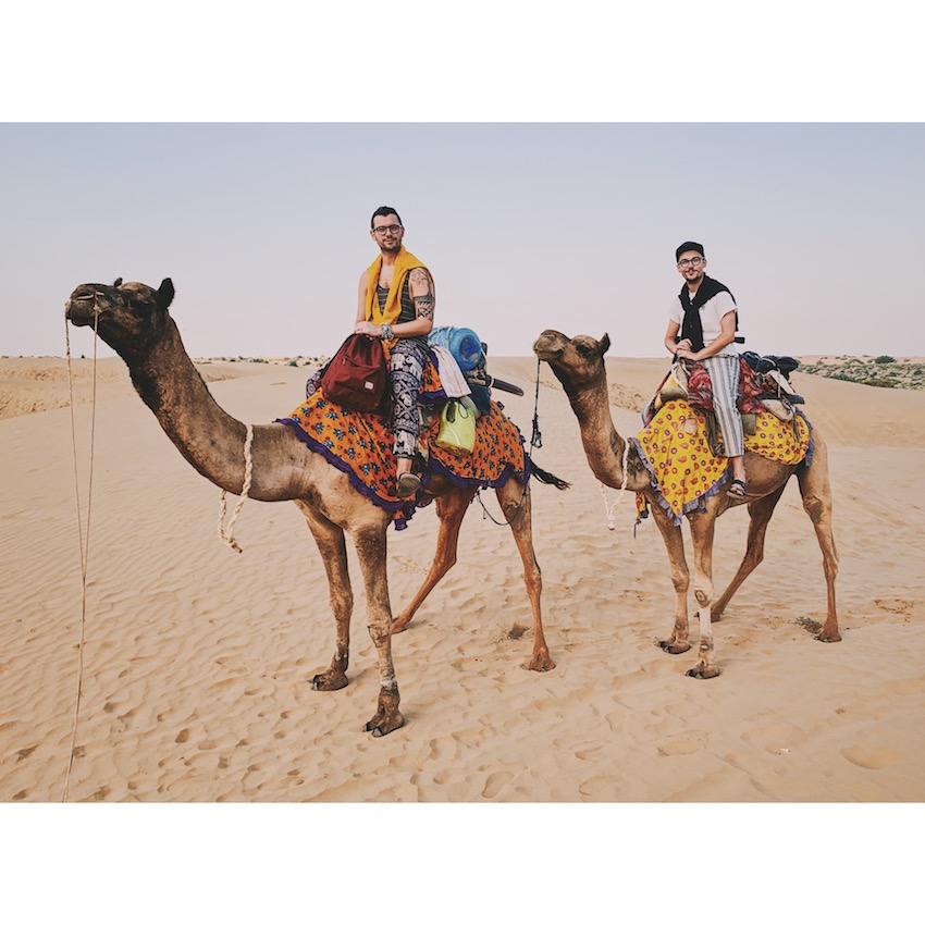 Patchwork Couple on honeymoon in India riding camels