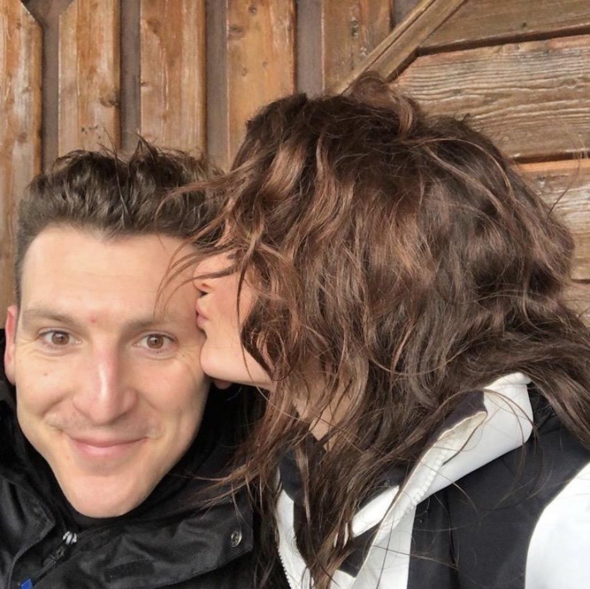 Patchwork Couple Katie and Matt on ski honeymoon