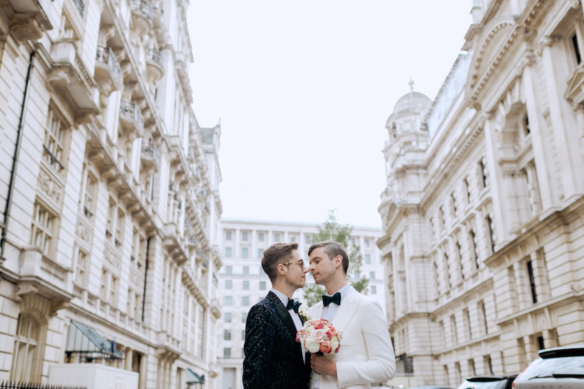 Groom and groom on wedding day in London Street