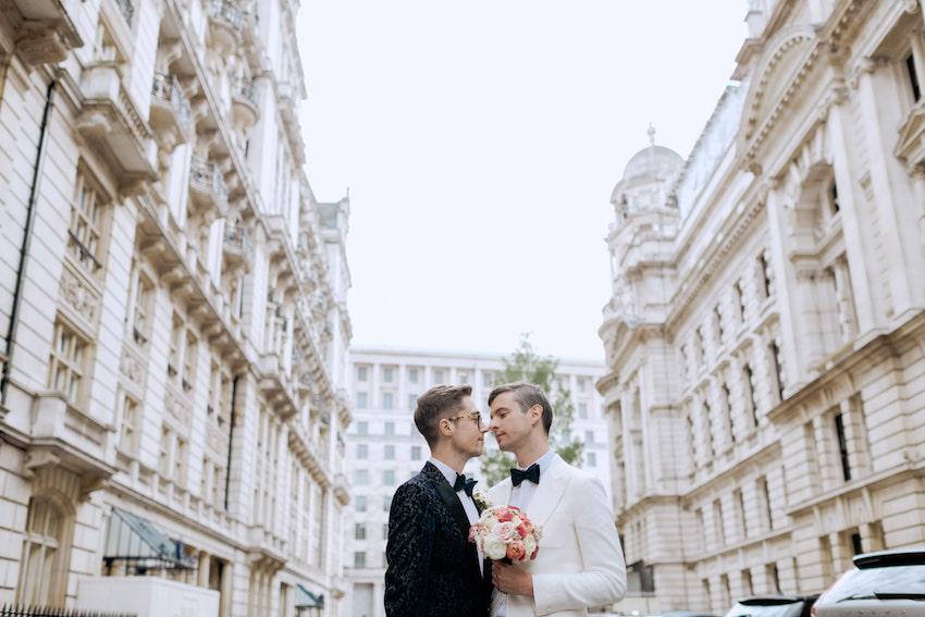 Groom and groom on wedding day in London Street