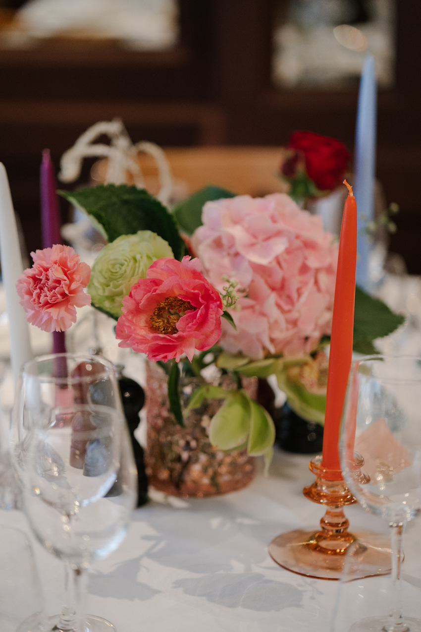 Close up of flowers on table at Soho wedding reception