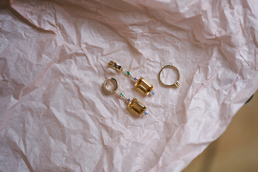 gold earrings, gold diamond ring