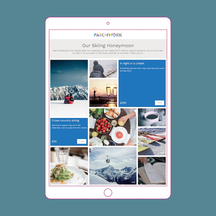 Patchwork ski honeymoon fund in iPad