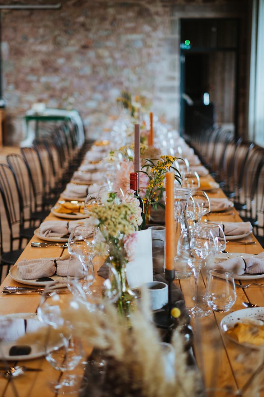 Wedding reception table decor at Guardswell Farm, Perthshire, Scotland
