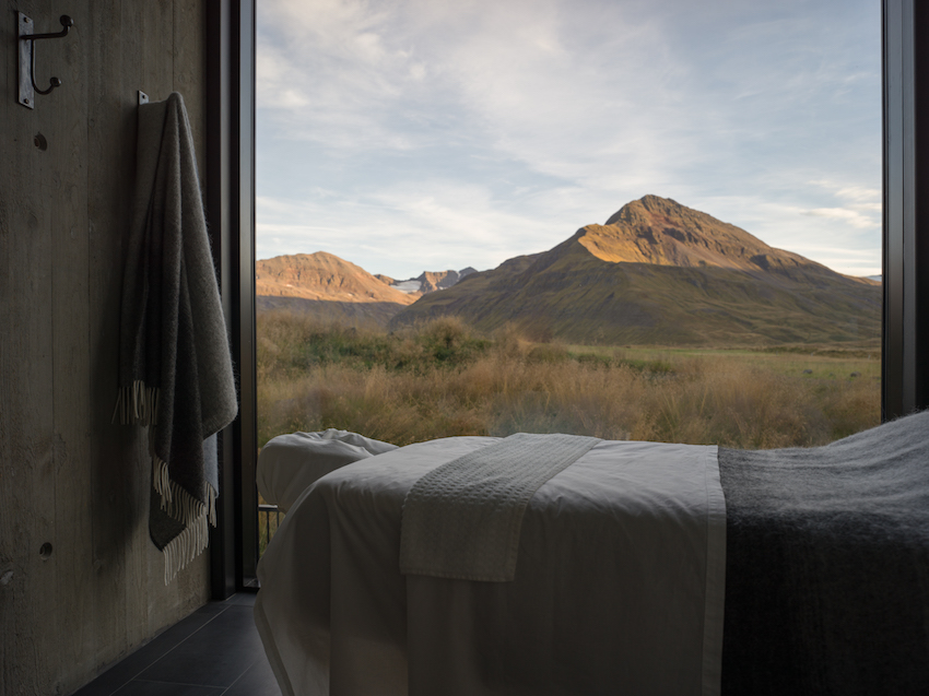 Massage room overlooking mountains at Deplar Farm, Iceland