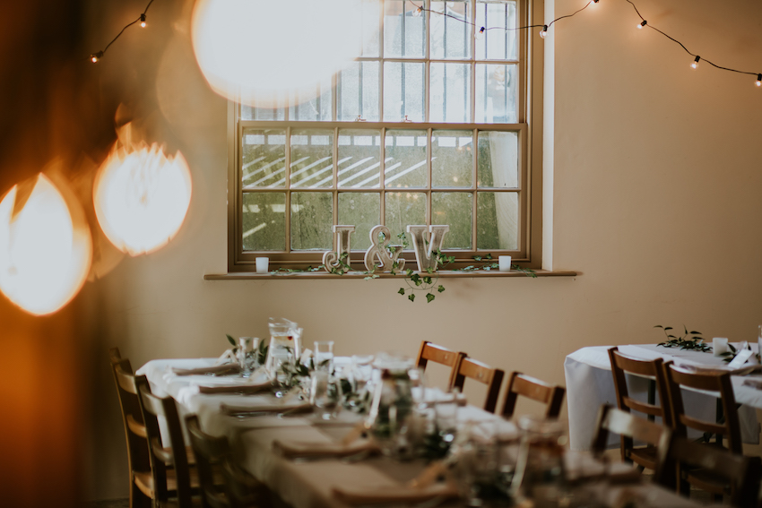 Seating for wedding reception at Elizabeth Gaskell House, Manchester