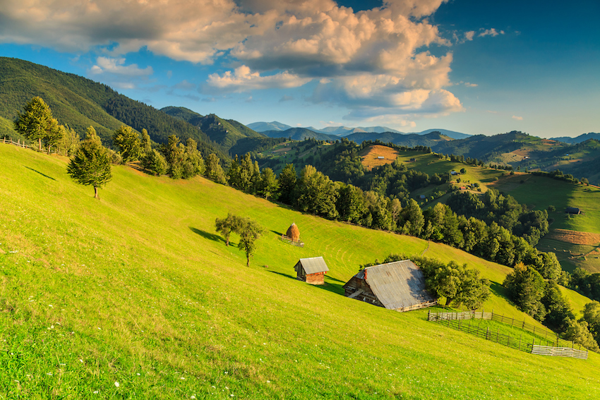 Summer alpine landscape with green fields and valleys,Bran,Transylvania,Romania,Europe honeymoon destination