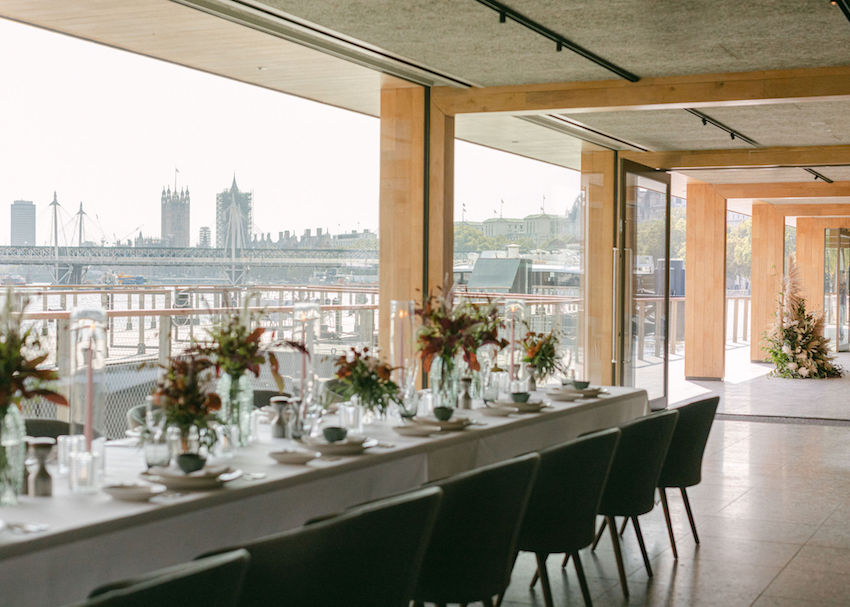 Woods Quay Wedding venue set up for Ceremony & Lunch