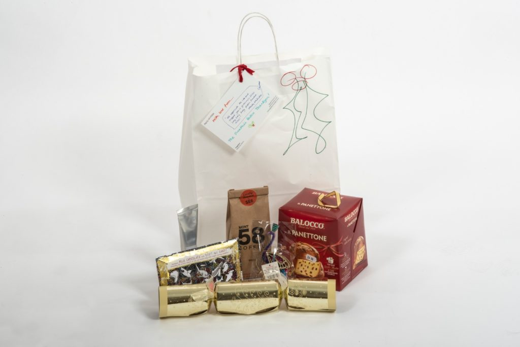 Festive thank you gift bags - panettone, Christmas cracker, coffee and chocolate