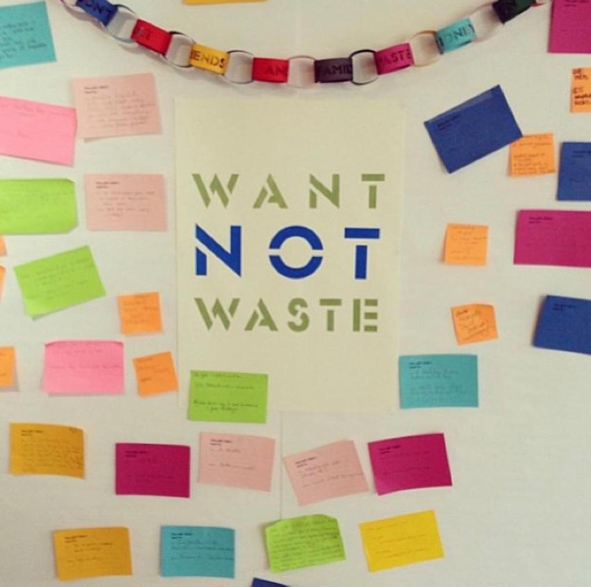 want not waste sign and post its on wall in Patchwork studio