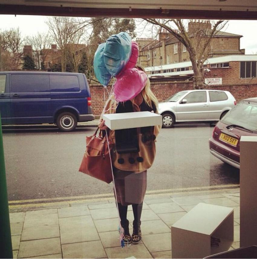 delivery of balloons and cake to Patchwork studio for launch party