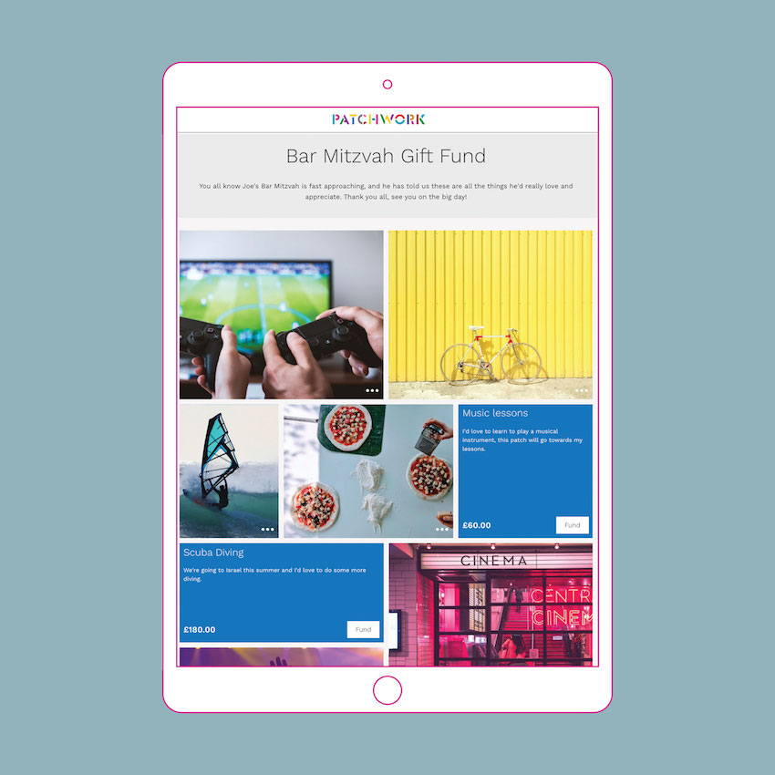 Bar mitzvah patchwork gift page in an iPad