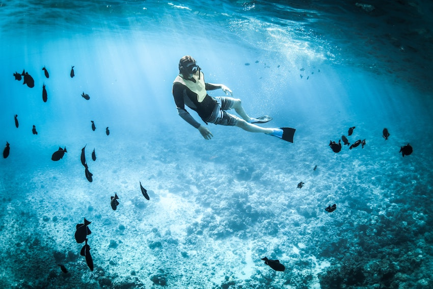 man snorkelling under water with fish surrounding him