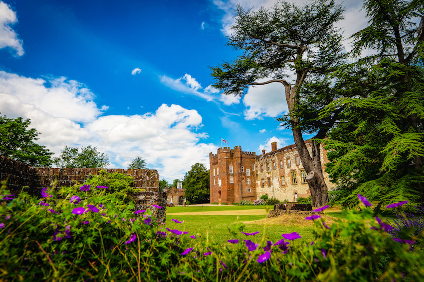 Farnham Castle wedding venue with blue sky above and purple flowers in foreground