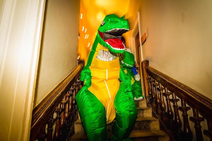 dinosaur makes an appearance at Kerry & Leah's Farnham castle wedding 2021
