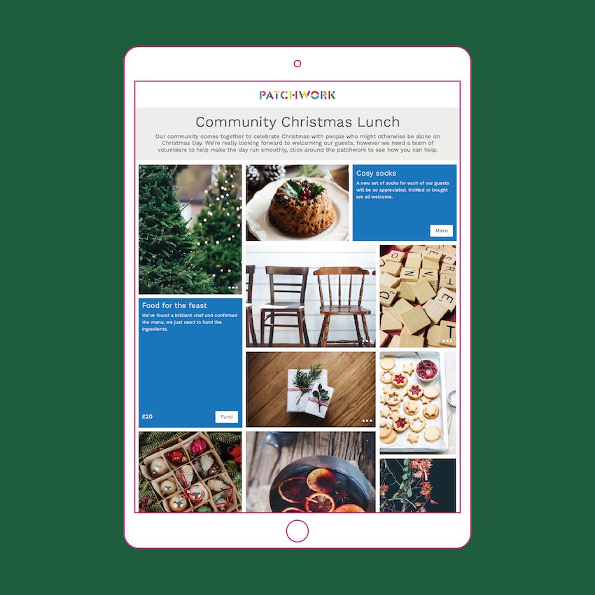 Community Christmas Lunch Patchwork fund in an ipad