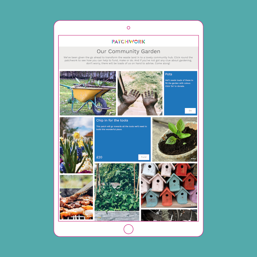 Image of a Patchwork fundraising page for a community garden shown in an ipad
