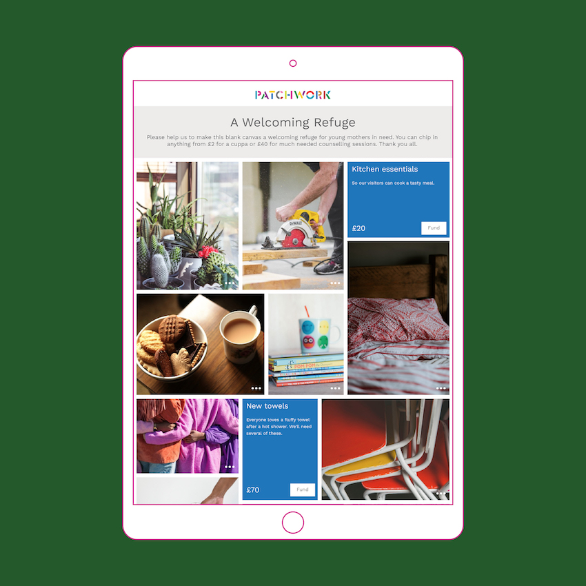 A Patchwork fundraising page for a Welcoming Refuge shown in an ipad