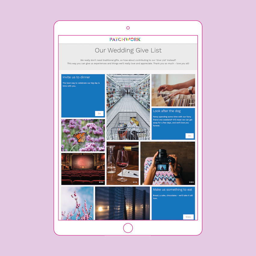 """A Patchwork """"Give List"""" wedding registry displayed in an ipad"""