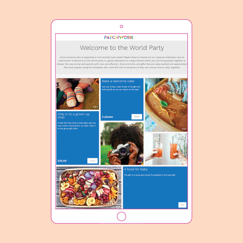 A Welcome to the World party Patchwork page in an iPad